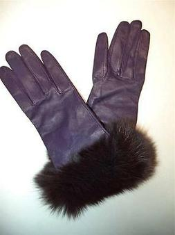 100% Silk Lined Fur Cuff, Genuine Leather Gloves,Purp--SEE D