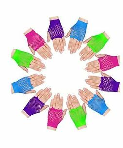 12 Pairs Neon Fingerless Fishnet Wrist Gloves Assorted Color