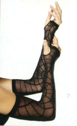 Leg Avenue 2090 Sheer Spider Web Arm Warmers Fingerless Goth