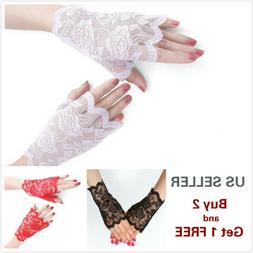 4 Colors Women Short Lace Floral Fingerless Gloves Gothic Br