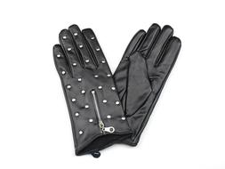 Black Faux Leather Womens Gloves With Metal Beads