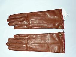 brown COACH Women's Cashmere Lined Leather Gloves tob 82821