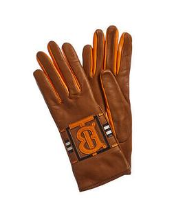 Burberry Cashmere-Lined Leather Gloves Women's Orange 6