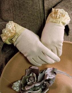 Victorian Trading Co Ivory Cashmere Gloves with Leather & La