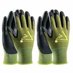 COOLJOB Bamboo Work Gloves Men and Women, Breathable Nitrile