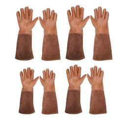 Cowhide Leather Gardening Long Gloves Thorn Proof Gauntlet f