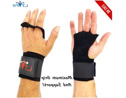 Crossfit Gloves Hand Grip Wrist Wraps Leather Palm Protector