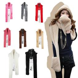 Cute Candy Color 3 in1 Hoodie Long Scarf Hat Gloves Warm Sca