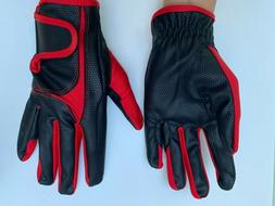 Equestrian Black Leather Horse Riding Gloves Equine for Ladi