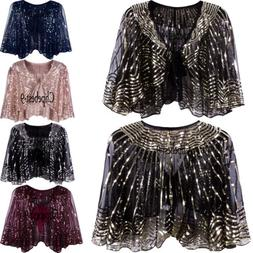 Evening Cape Vintage Shawl Wraps Sequins Beads  Scarves Wome
