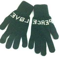 PAUL SMITH GREEN LOVE PEACE 100% LAMBSWOOL KNITTED GLOVES  N