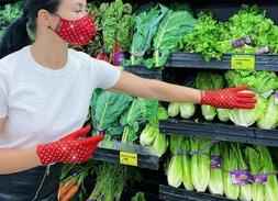Red Grocery Gloves with Rhinestones, Fancy Women Gloves for