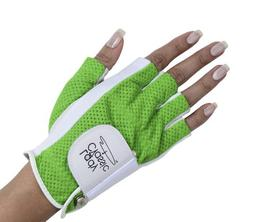 Lady Classic Half Glove , White and Green, X-Large