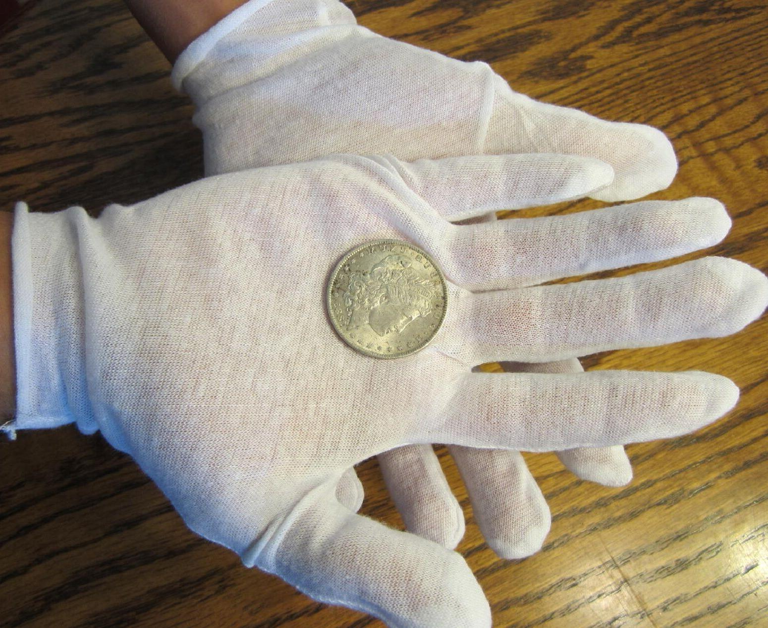 20 PAIRS WHITE COIN INSPECTION GLOVES COTTON LISLE OR LINERS