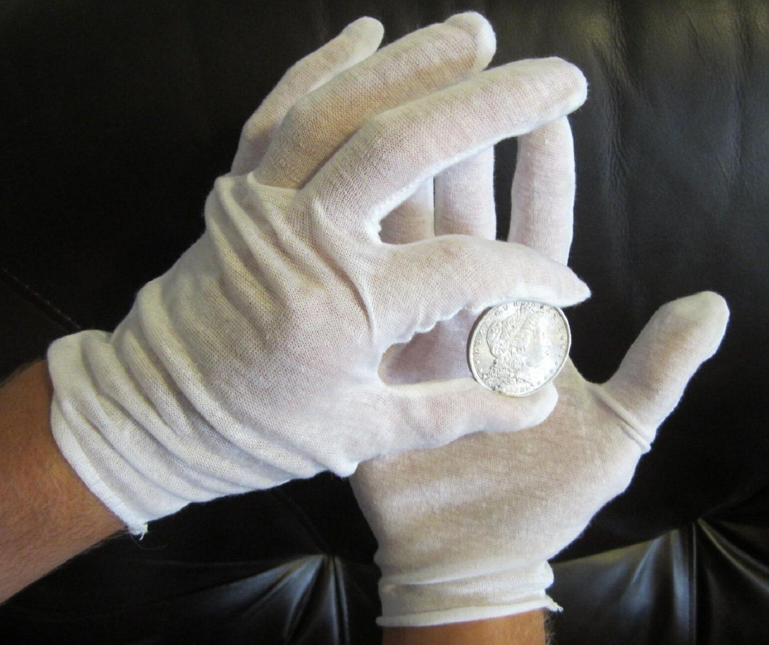 20 PAIRS WHITE COIN INSPECTION GLOVES COTTON LISLE OR BLEND