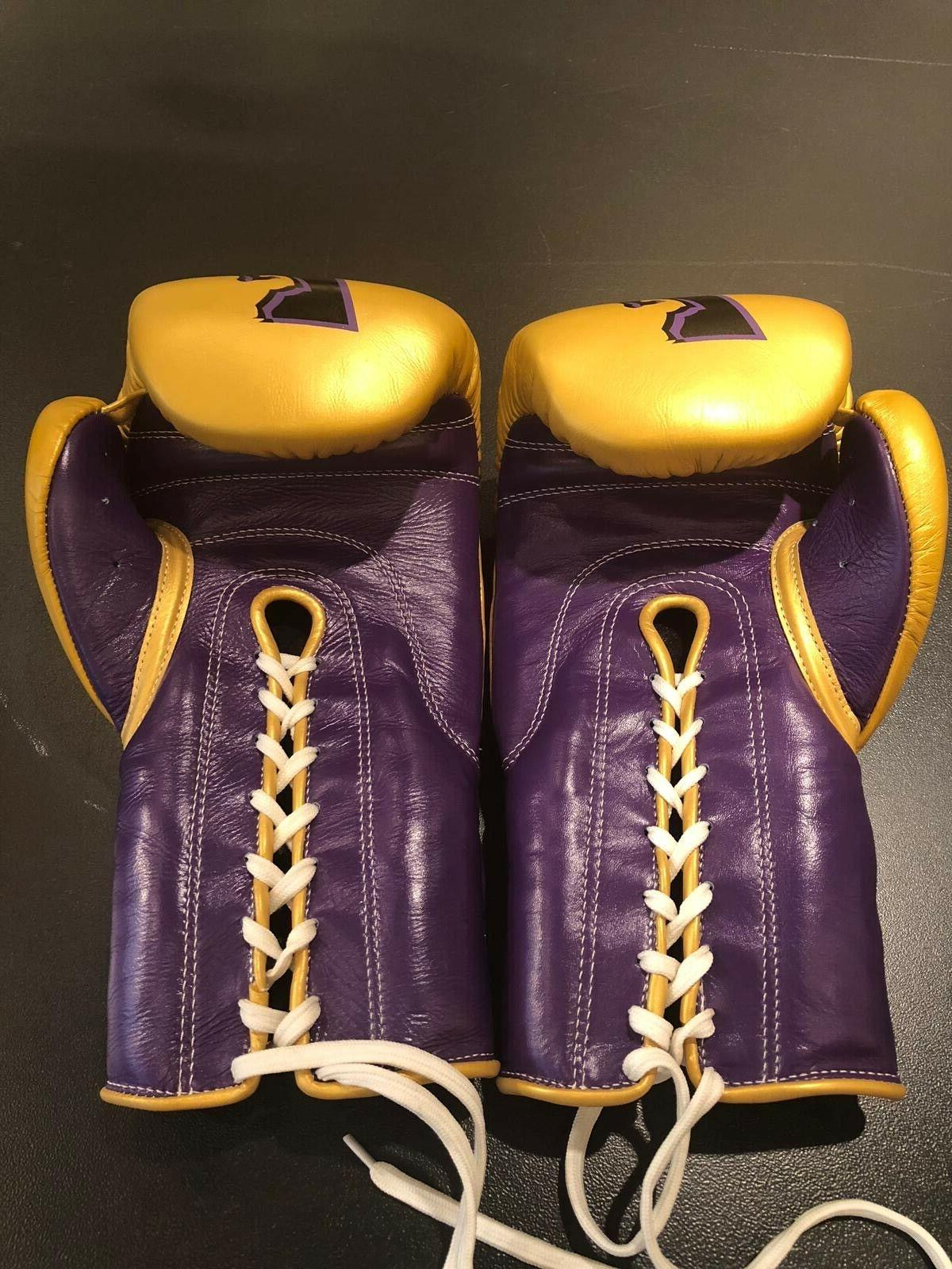 cowhide leather lace up boxing gloves