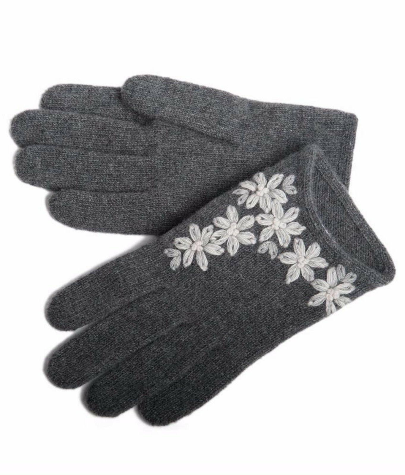 italian 100 percent cashmere womens gloves embroidered