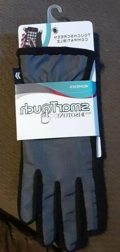 Isotoner Smart Touch Womens Gloves Black/Gray, one size medi
