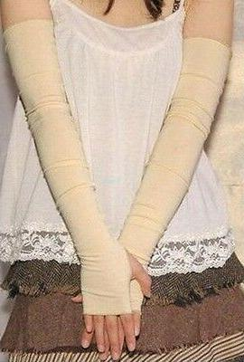 Women Stretchy Long Fingerless Gloves Arm Warmers Sleeves