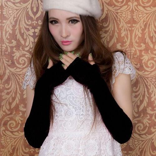 Women Stretchy Long Sleeve Fingerless Cashmere Arm Sleeves