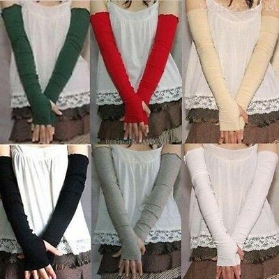 Women Stretchy Long Fingerless Gloves Arm Warmers