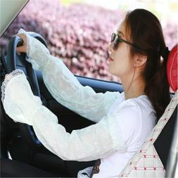 Lace Cycling Cuff Gloves Driving Arm Women Warmers Sunscreen