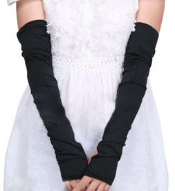 Lady Women Cotton Long Stretchy Fingerless Sun Protective Gl