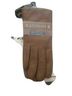 Isotoner Leather Thinsulate Lined Camel Brown Gloves Caramel