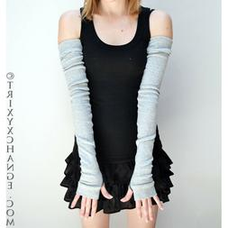 Long Cotton Gloves Gray Arm Warmers Winter Sun Sleeves Hand