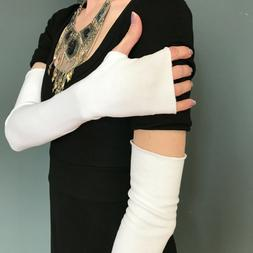 Long White Gloves Cotton Arm Warmers with Thumb Hole Scar Co
