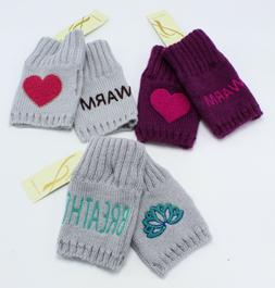 """New """"Wintery Words"""" Fingerless Womens Gloves by Collection X"""