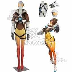 OW Tracer Cosplay Costume Brown Coat Yellow Jumpsuit Strap G