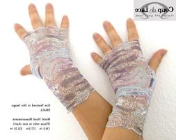 Pair of Fingerless Lace Gloves -Purple Blue White w/ Gold Ac