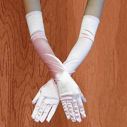 Pink COLOR - Opera  Satin Gloves Elbow Length Costume Full F
