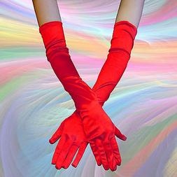 RED COLOR - Opera Elbow Length Satin Gloves Costume Full Fin