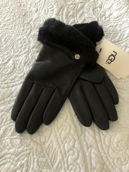 UGG Australia Soft Cashmere Wool Black Leather Fur Cuffs Glo
