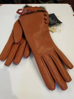 Dents Sophie Women's Leather Gloves with Fur Cuffs NWT $195
