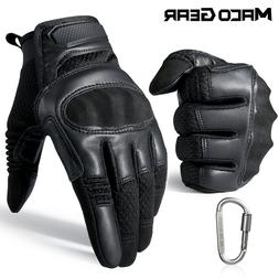 Touch Screen Leather Motorcycle Mens Tactical Gloves Driving