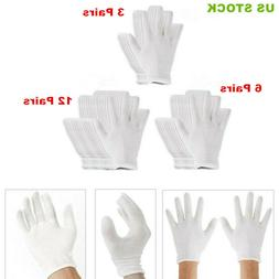 US 12 Pairs of 18.5cm White Thin and Reusable Elastic Soft C