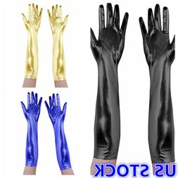 US _ Women Shiny Leather Wet Look Cosplay Long Finger Gloves