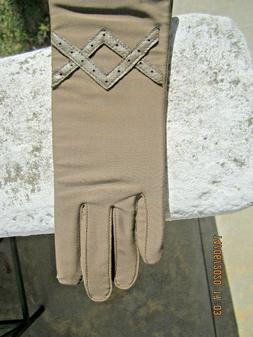 Vintage Women's Fownes VIBRANCE Taupe Nylon Leather Gloves d