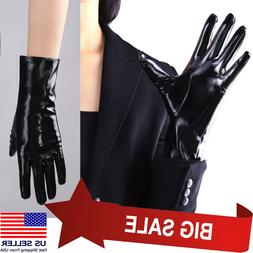 Women Black Shiny Short Wet-Look Gloves Small Cosplay Faux P