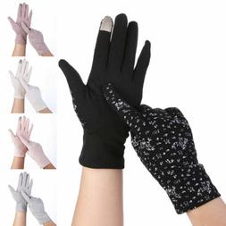 Women Breathable Non-slip Gloves Cotton Touch Screen Sunscre