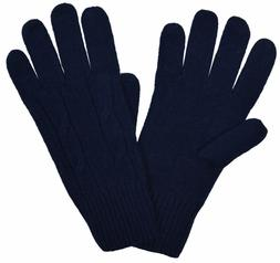 Brooks Brothers Women's Cable-knit Merino Wool Gloves, Navy,