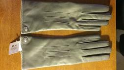 COACH Women's Cashmere Lined Leather Gloves Gray size 7 1/2,