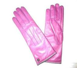 COACH Women's Cashmere Lined Leather Gloves PINK new rose si