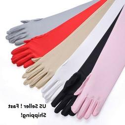 """Women's Evening Party Formal Gloves  22"""" Long Black White Sa"""