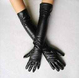 Women's Faux Leather 45 cm Long Gloves Evening Party Fashion