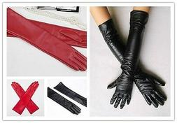Women's Faux Leather Long Gloves Evening Party Fashion Warm