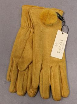 JAYLEY Women's Faux Suede Gloves With Faux Fur Pom SH3 Yello